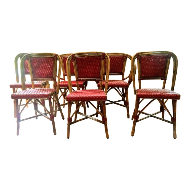 Vintage Woven French Bistro Chairs - Set of 6 - Image 1 of 11