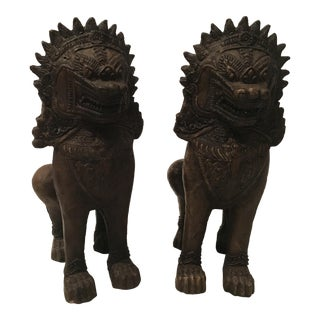 Chinese Terracotta Foo Lion Figures - A Pair