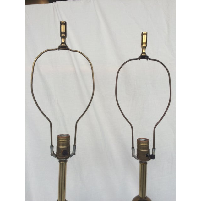 Image of Walter Von Nessen Brass Tripod Table Lamps - Pair