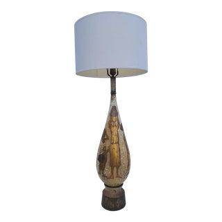 Paul Evans Inspired Figural Gold Leaf Studio Ceramic Lamp