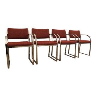Mid-Century Modern Milo Baughman Style Chrome Dining Chairs - Set of 4