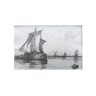 19th Century French Graphite Drawing of Ships