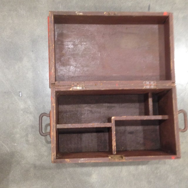 Rustic Antique Orange Wash Carpenter's Box - Image 5 of 5