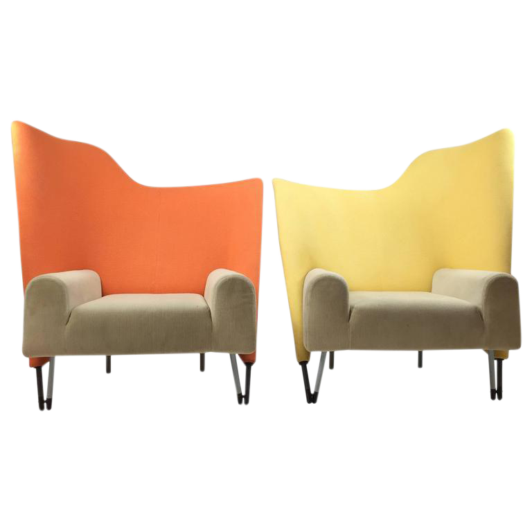 Paolo Deganello For Cassina Memphis Style Torso Chairs   A Pair