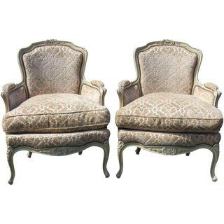 Louis XVI Style Distressed Cream Painted Bergere Chairs - A Pair