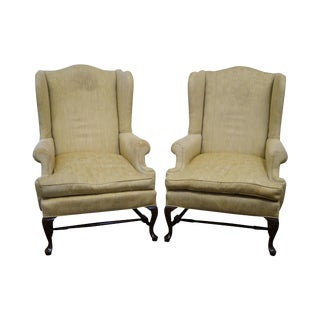 18th C. Style Queen Anne Wingback Chairs - A Pair