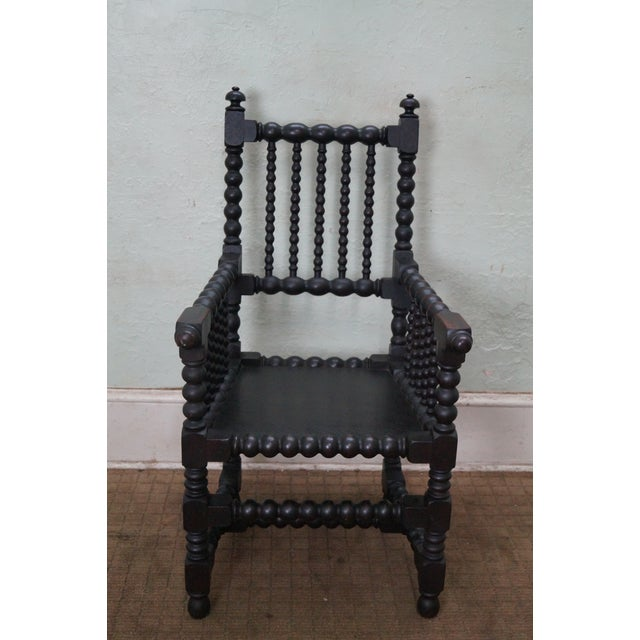 19th Century Solid Walnut Spool Turned Arm Chair - Image 2 of 10
