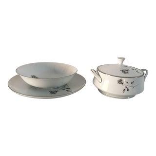 "Vintage China ""Shadow Rose"" Pattern Serving Bowls & Platter - Set of 3"