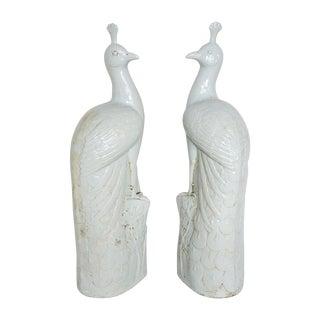 White Ceramic 3 Ft Tall Peacock Pair