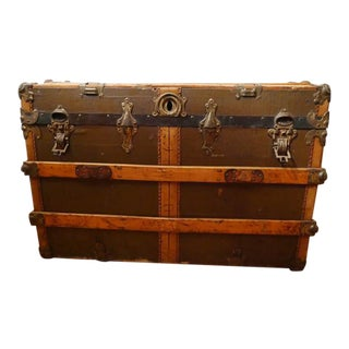 Fabulous Victorian Antique Canvas Leather & Wood Steamer Trunk