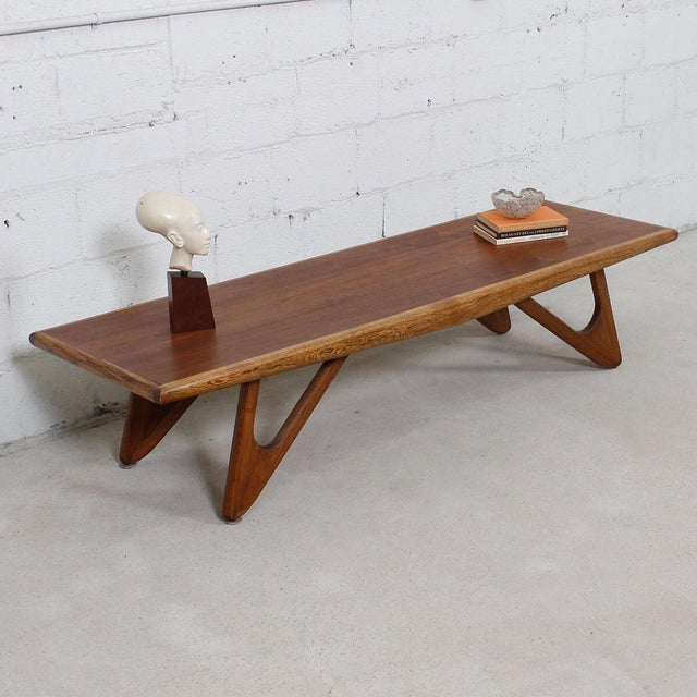 Lane Pearsall Coffee Table: Adrian Pearsall Style Walnut Coffee Table / Bench