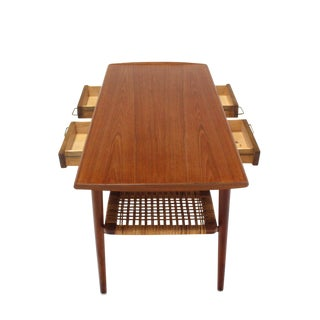 Danish Modern Teak Coffee Table Cane Shelf Rolled Edges 4 Storage Drawers