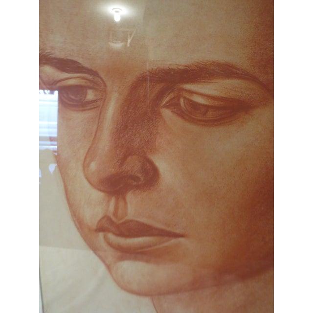 Huge Sanguine Portrait of a Girl, Edmund Brucker - Image 4 of 7