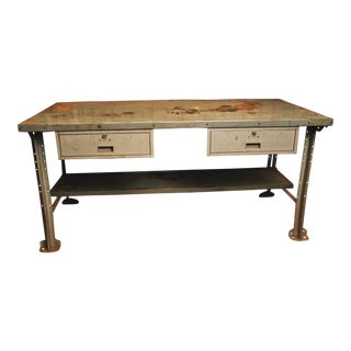 Vintage Industrial Steel Work Bench by Lyon