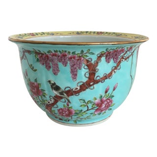 Chinese Famille Cherry Blossom Cache Pot