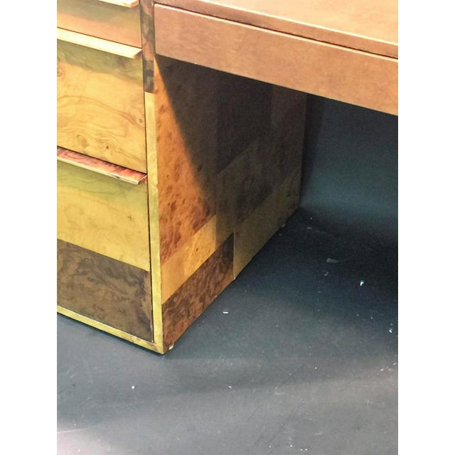 PAUL EVANS PATCHWORK BURLED WOOD AND LEATHER DESK - Image 6 of 10