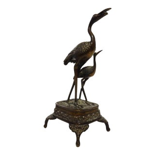 Japanese Bronze Sculpture of Two Cranes
