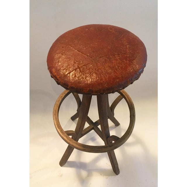Vintage Industrial Leather Swivel Stool - Image 2 of 6