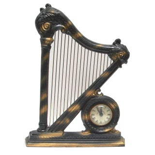 Electric Figural Harp Mantel Clock