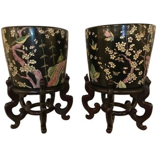 19th Century Chinese Gardiniers on Rosewood Stands - a Pair