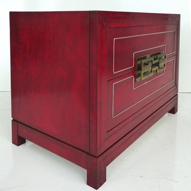 Mastercraft Mid Century Modern Mandarin Red Burl Wood