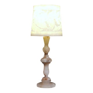 Turn of the Century French Marble Desk Lamp With Alabaster Shade