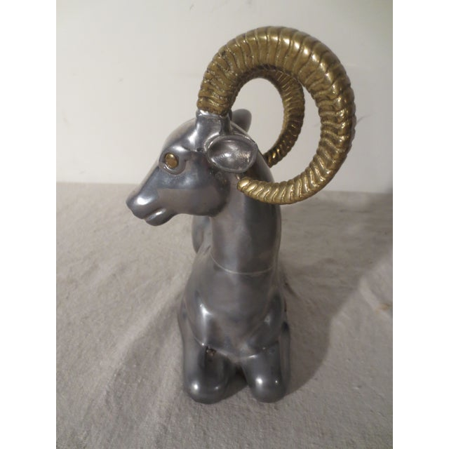 Image of 1970s Pewter and Brass Antelope