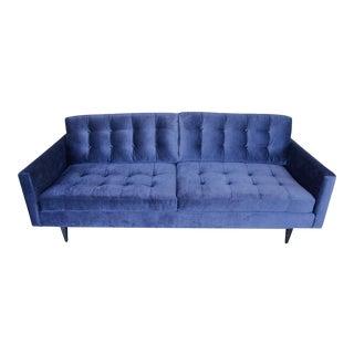 Mid-Century Modern Blue Mohair Sofa