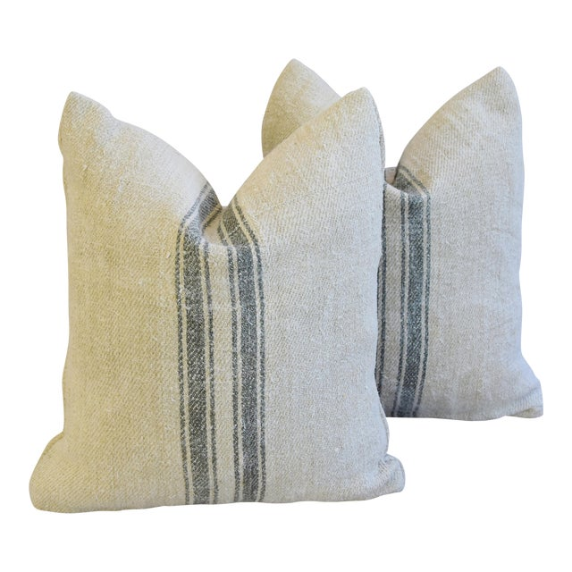 Custom French Gray Stripe Gain Sack Feather/Down Pillows - Pair - Image 1 of 8