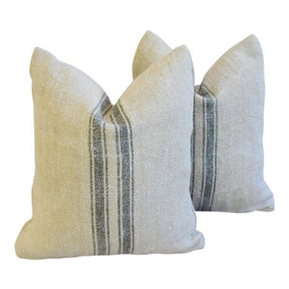 Custom French Gray Stripe Gain Sack Feather/Down Pillows - Pair