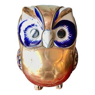 Sergio Bustamante Vintage Ceramic & Brass Owl