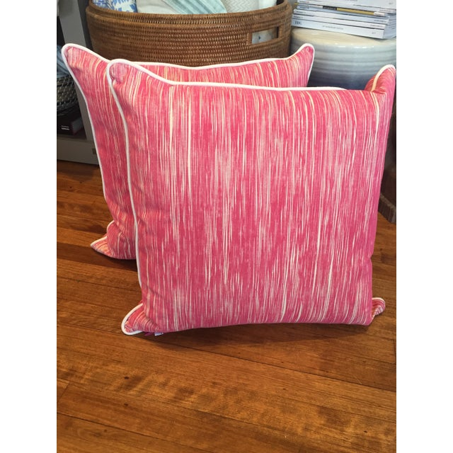 Down Pink Striped Pillows - A Pair - Image 3 of 5