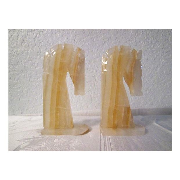 Midcentury Crystal Onyx Horse Head Bookends - Pair - Image 3 of 6