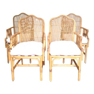 Woven Rattan Bamboo Armchairs - Set of 4