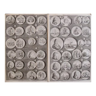 Original 1745 British Engravings, Royal Medals - A Pair