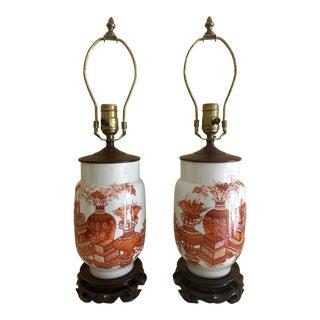 Antique Kutani Porcelain Lamps - A Pair