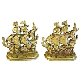 1960s Brass Galleon Ship Bookends - Pair