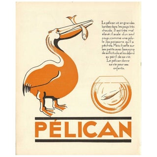 1930s French Art Deco Pelican Giclée Print