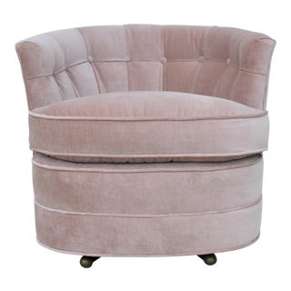 Vintage Pink Velvet Swivel Chair