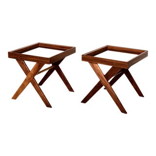 Pablex X-Base Walnut Side Tables