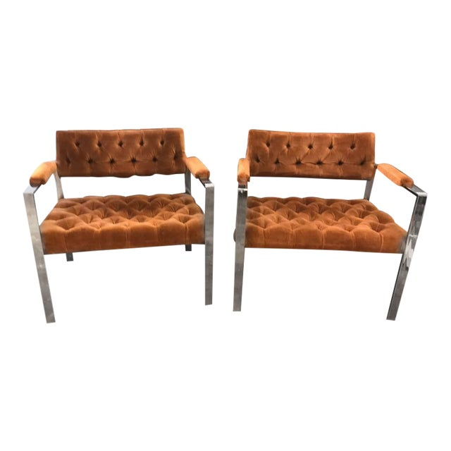Pair of Milo Baughman Chrome and Velvet Tufted Arm or Lounge Chairs - Image 1 of 11