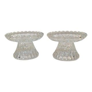 Vintage Pressed Glass Candlesticks - A Pair