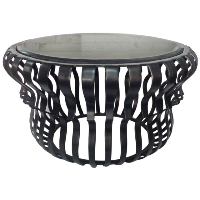 Black Aluminum & Clear Glass Top Coffee Table - Image 1 of 4