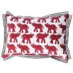 Image of Red Block Printed Elephant Pillow
