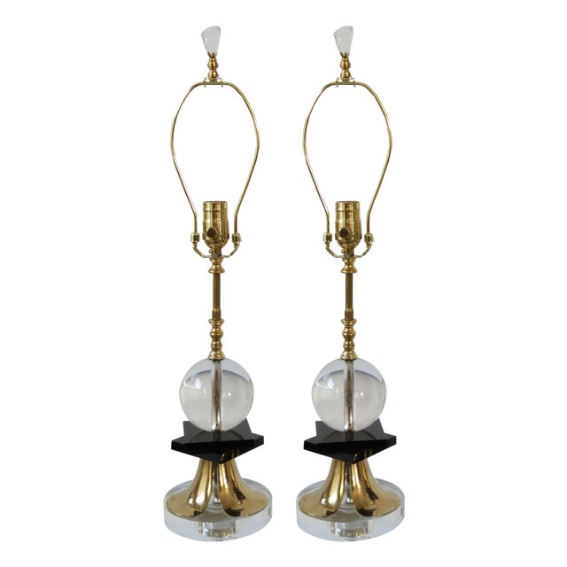 1970's Brass and Black Glass Lamps - Pair - Image 1 of 5