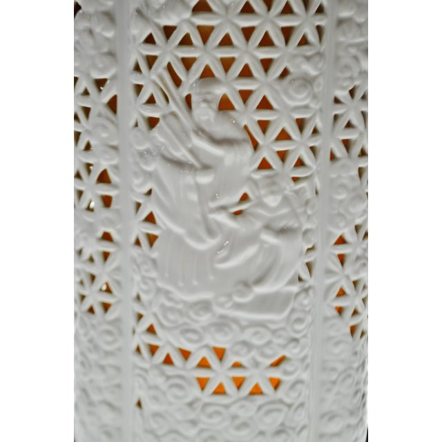 Seyei Blanc De Chine Reticulated Porcelain Lamp - Image 5 of 11