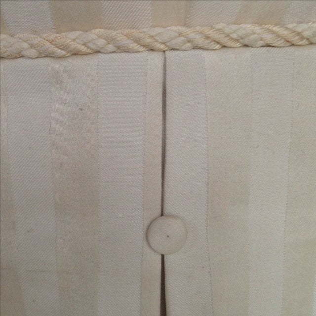 Tufted & Skirted Off White Ottoman - Image 5 of 5