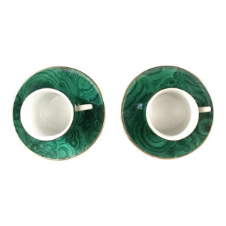 Neiman Marcus Green Malachite Cups & Saucers- A Pair