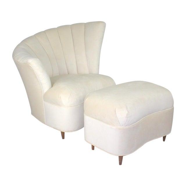 Vintage Hollywood Regency Fan Back Chair & Ottoman - Image 1 of 5