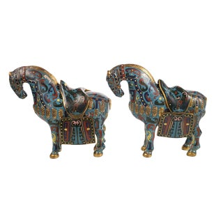 Chinese Cloisonne Horses Sculptures - Pair